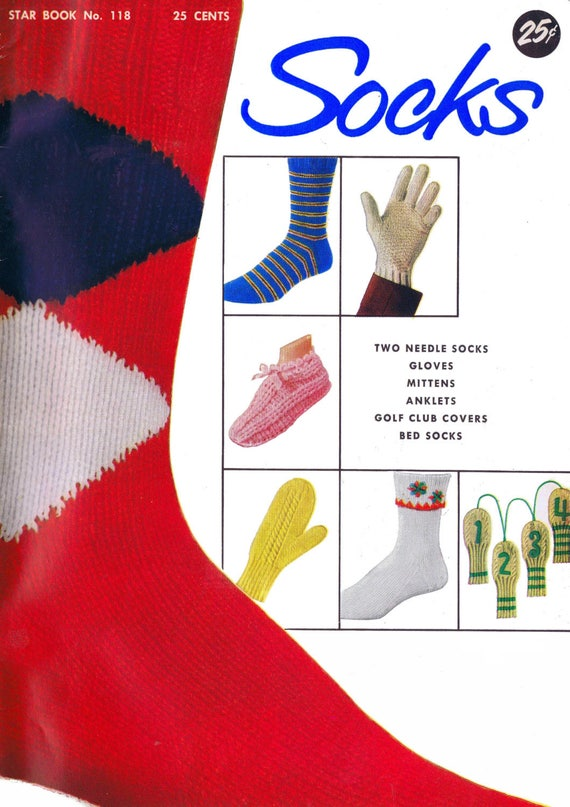 Vintage Knitting Pattern Book Two Needle Socks Gloves Mittens