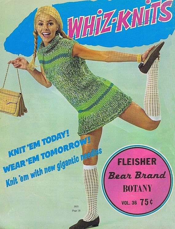 Vintage Knit Crochet Patterns 60s Fleisher Bear Brand Botany Etsy