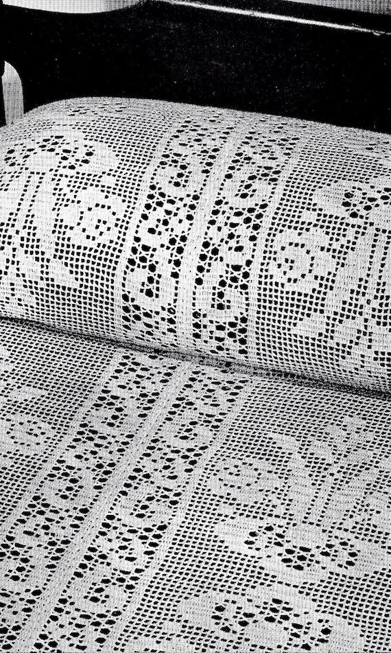 Vintage Filet Crochet Patterns Mid Century Tablecloths Etsy