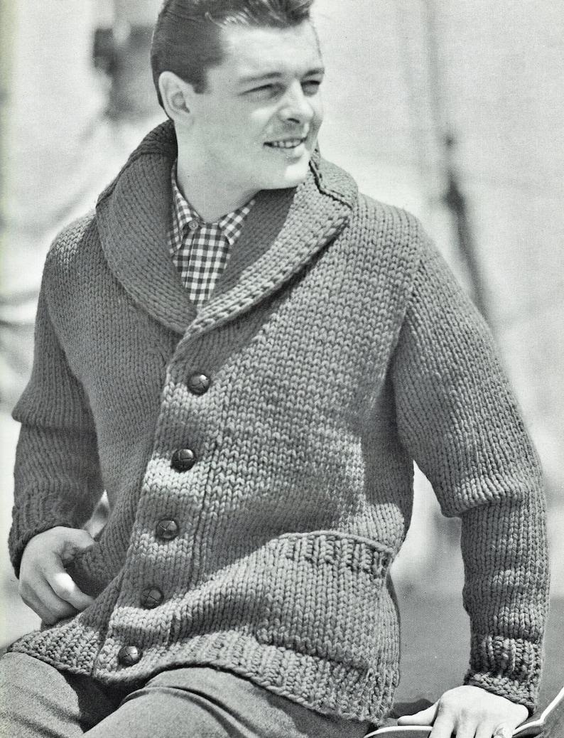 016d8b2f8f207b Mens PDF Knitting Pattern Cardigan Shawl Collar Chest Sizes