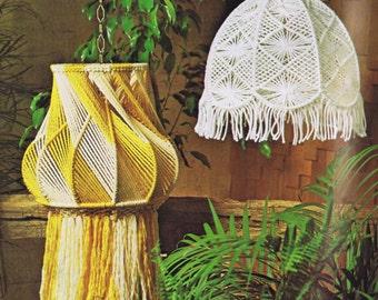 Vintage Macrame Patterns Hanging Lamps Mesh Lamp Shade Pattern Designs Planters 1970s Instant PDF Digital Pattern Download