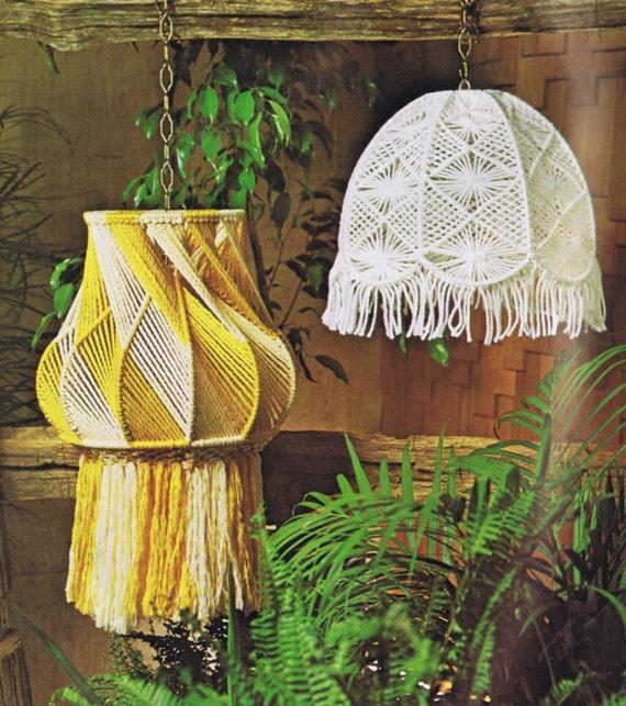 Vintage Macrame Patterns Hanging Lamps Mesh Lamp Shade