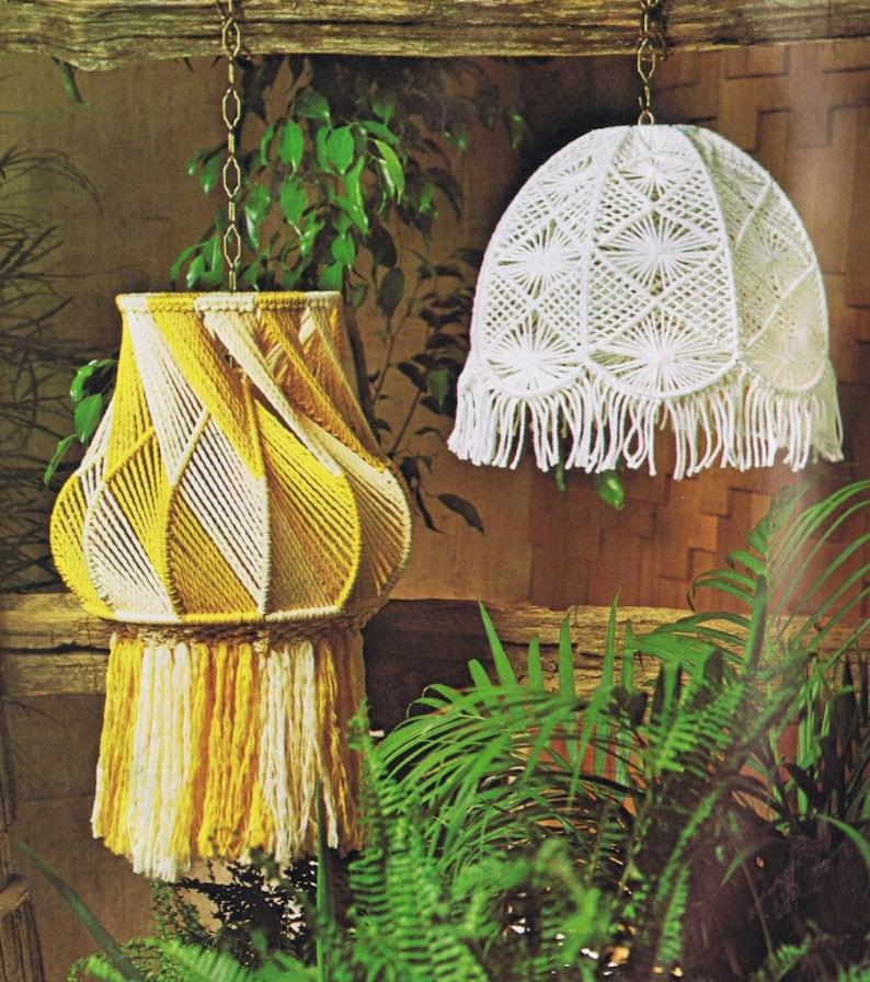 Vintage Macrame Patterns Hanging Lamps Mesh Lamp Shade Pattern image 0