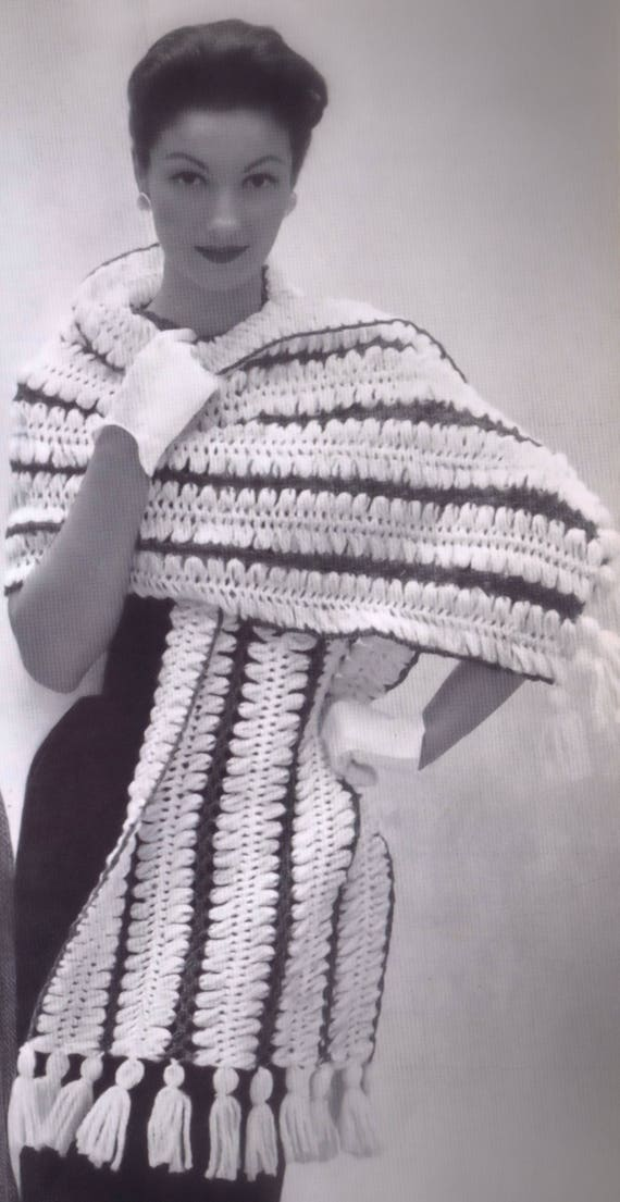 Vintage Crochet PATTERN to make Stole Shawl Wrap Hairpin Lace