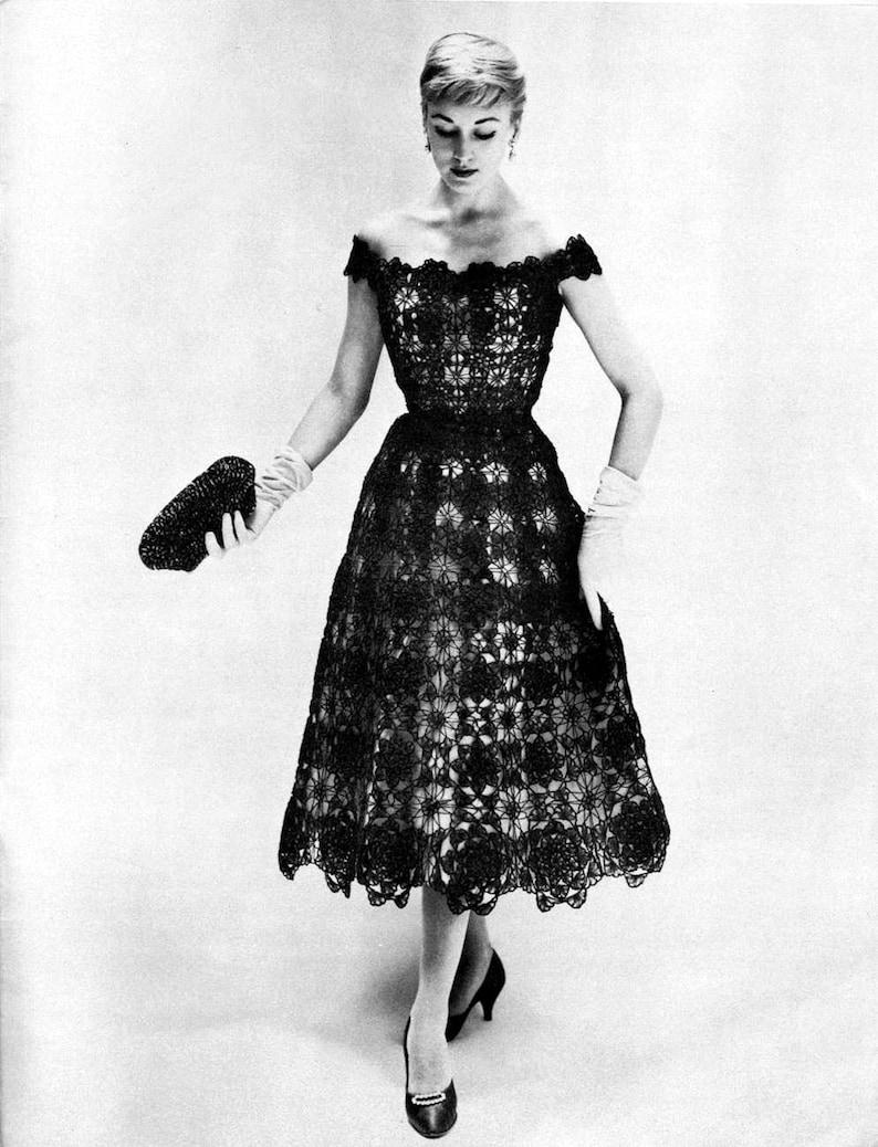Crochet Formal Dress Pattern Vintage Size 12-16 Bust Range image 0