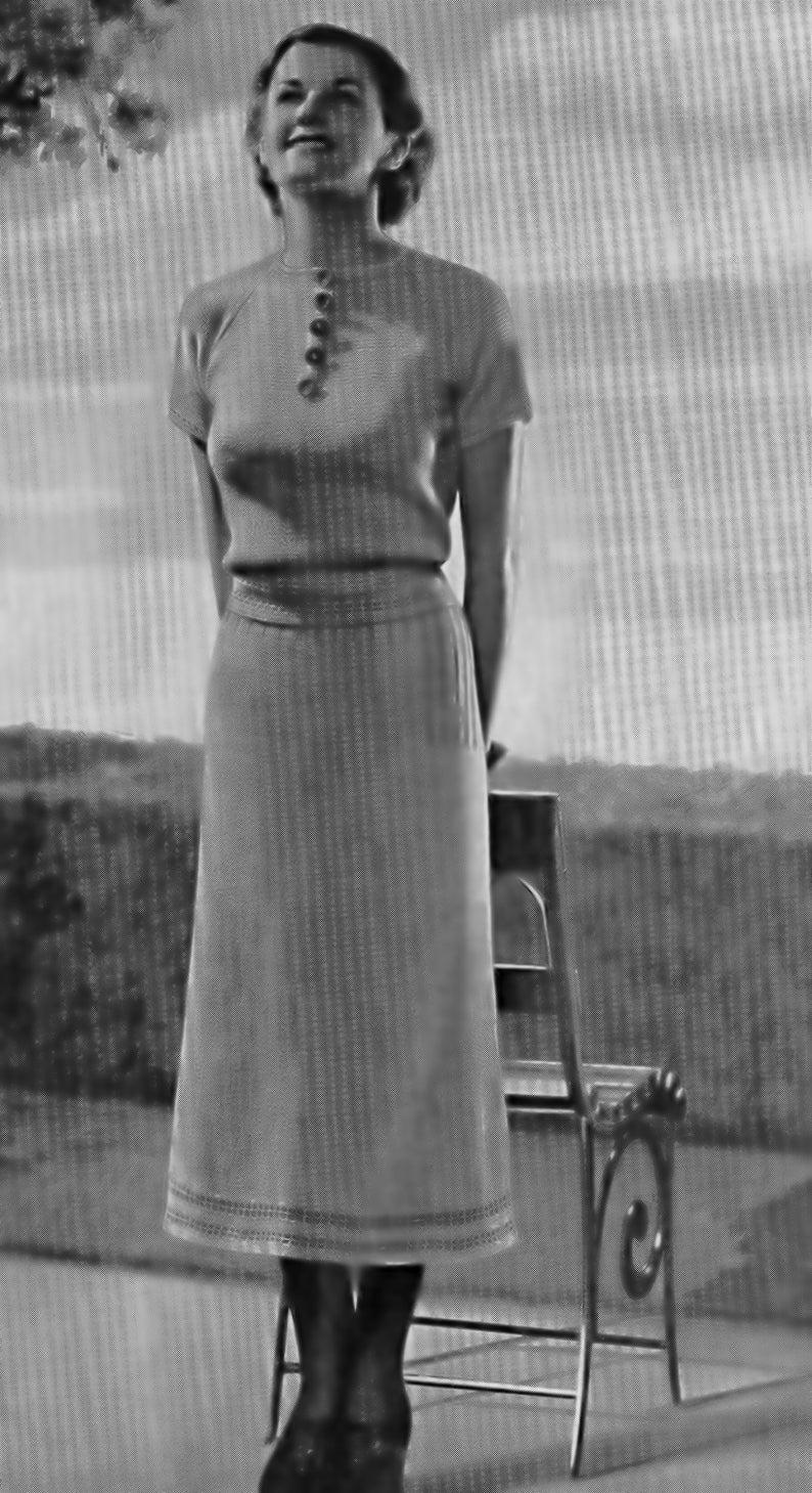 Vintage Knitting Pattern Two Piece Dress 1930's Bust Size image 0