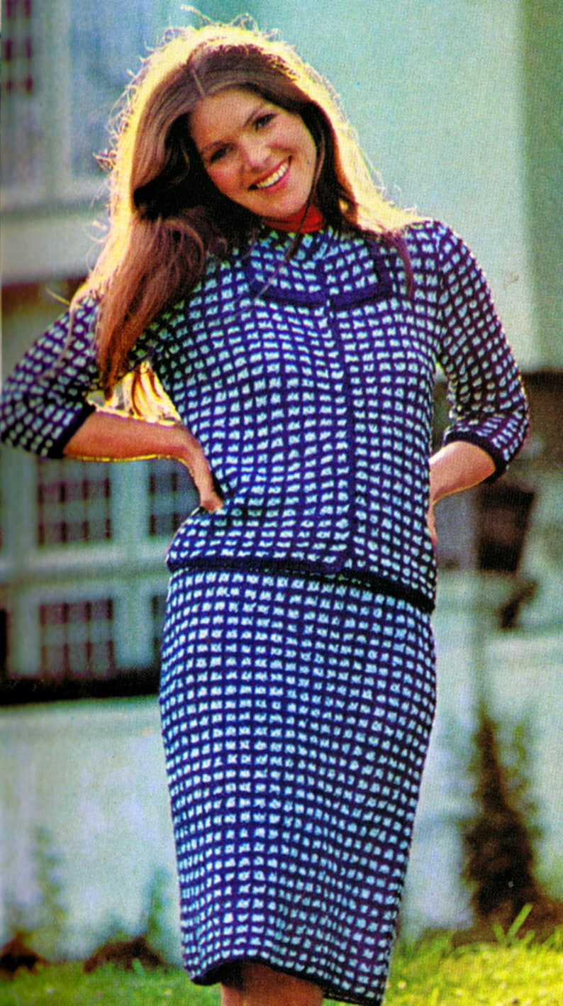 Two Piece Suit Knitting Pattern Vintage Ribbon Suit Sizes image 0