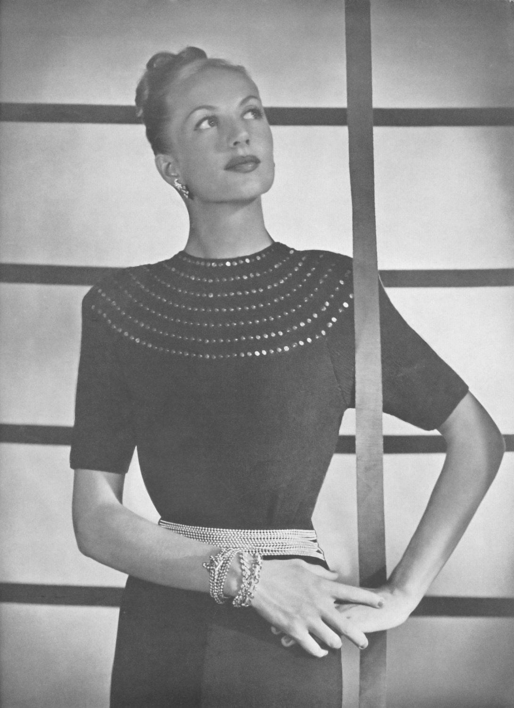 82a7cc06d PDF Knitting Pattern Evening Blouse Sequin Yoke Diamonds in | Etsy