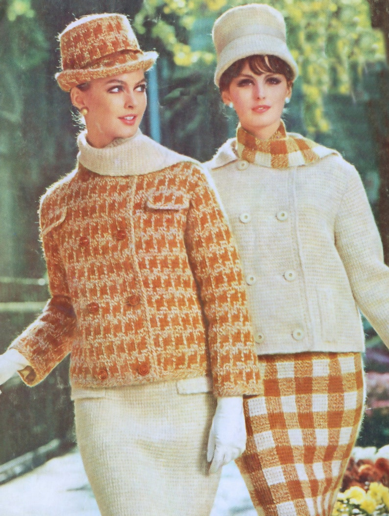 Two Suit Patterns Afghan Stitch Hounds-tooth or Plaid Vintage image 0