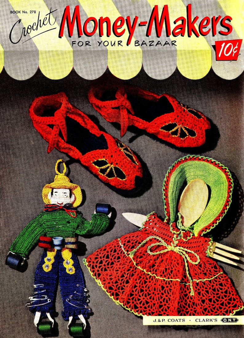 Vintage Crochet Patterns Slippers Doll Clothes Apron Novelty image 0