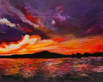 Original Acrylic Painting: Sunrise Landscape