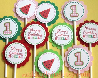 Watermelon 1st Birthday Personalized Cupcake Toppers