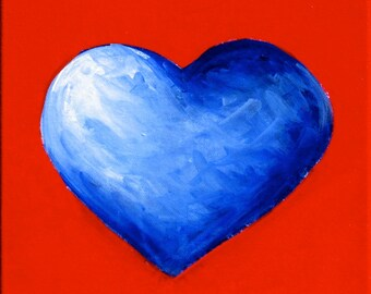 kid s room art original painting blue heart with red etsy
