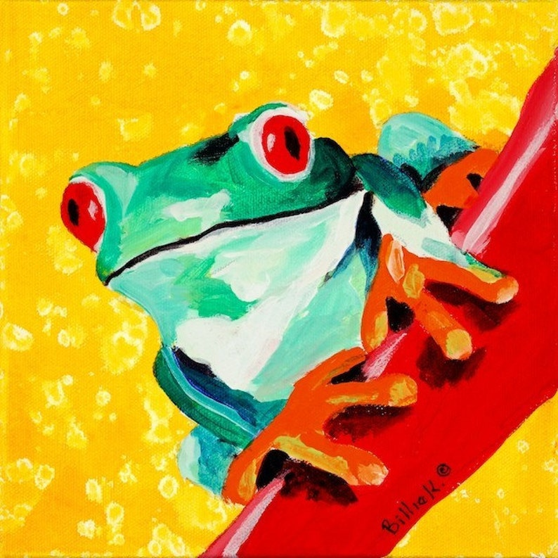 Frog Painting  Kid's Room Art Print Titled: Green Tree image 0