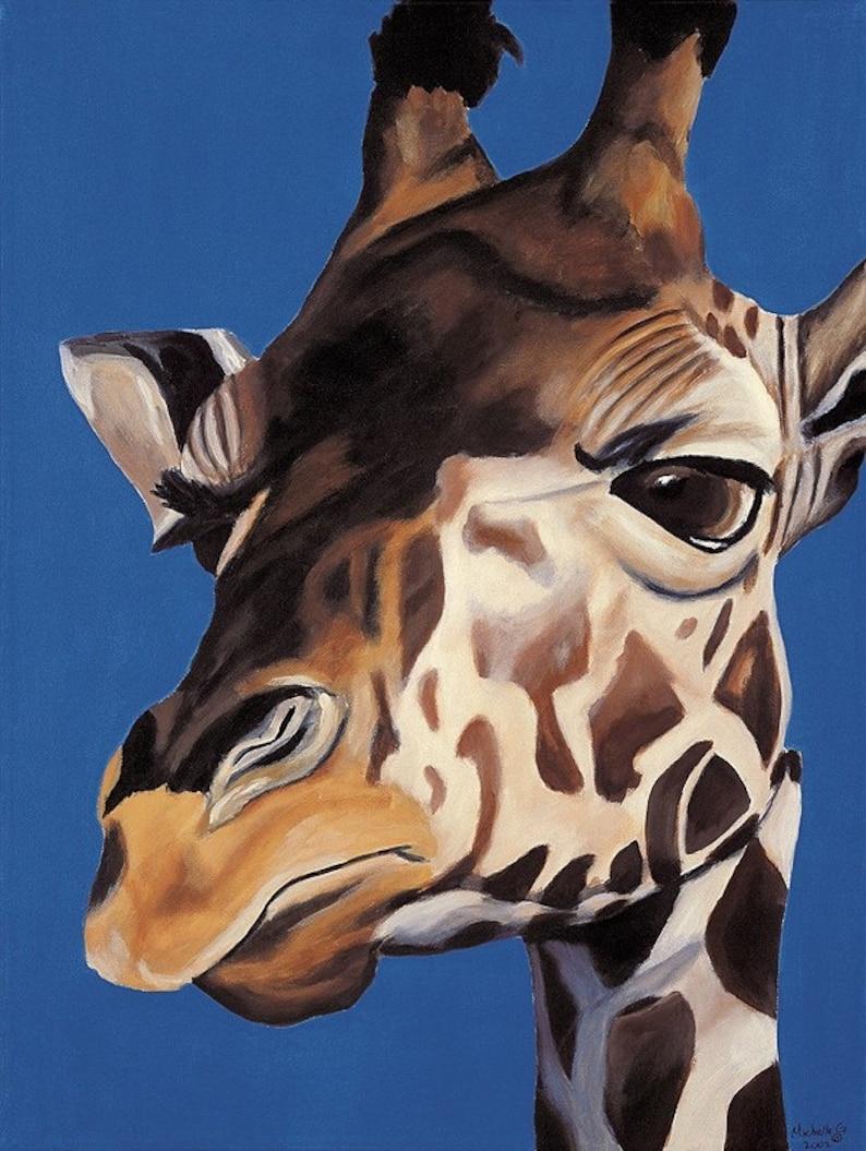 Children's Room Art Print Giraffe 8x10 Print Boy's image 0