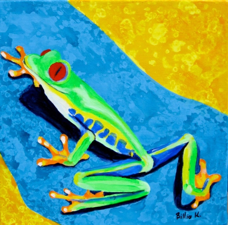 Climbing Tree Frog Art. Lime Green Frog. Kid's Room Art image 0