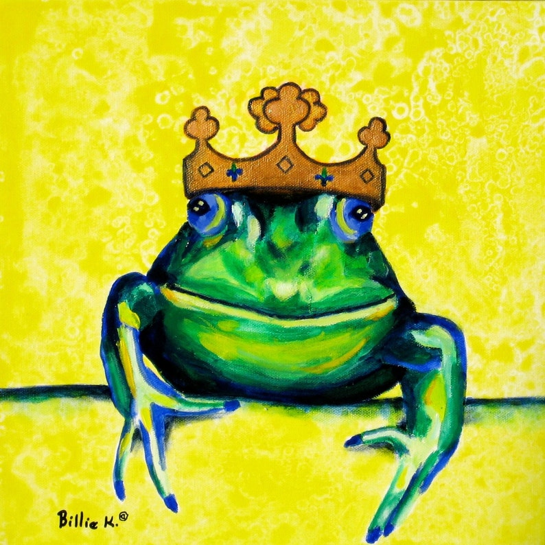 Frog Prince Print Gifts For Baby Yellow and Green Kids Wall image 0