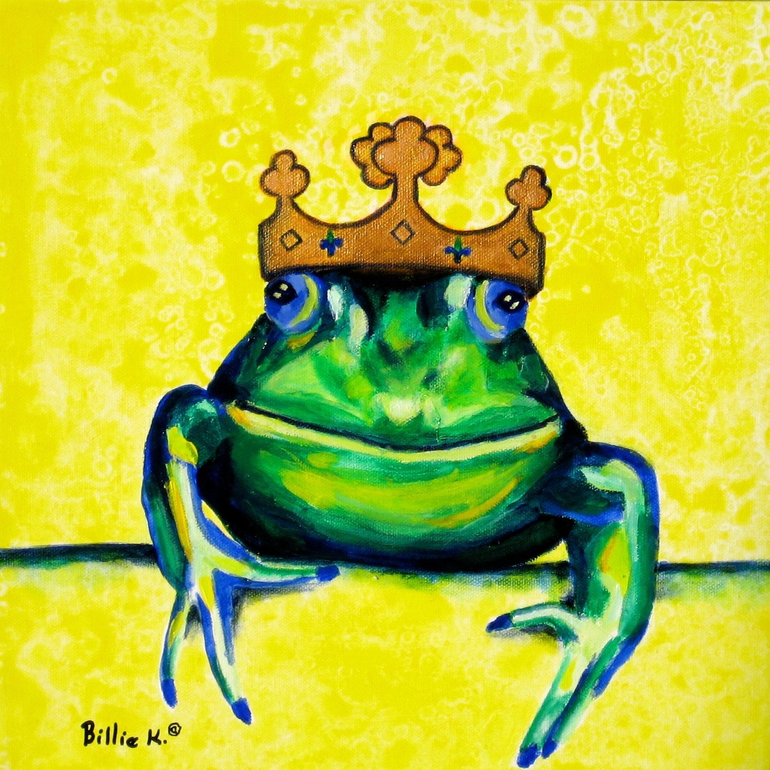 Frog Prince Print Gifts For Baby Yellow and Green Kids Wall | Etsy
