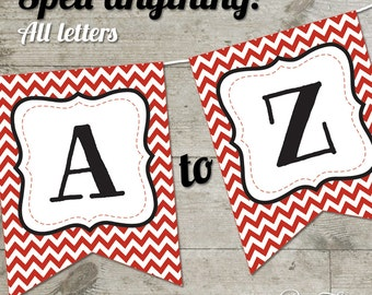 Georgia Red Chevron Printable Banner, Letters A-Z + Numbers