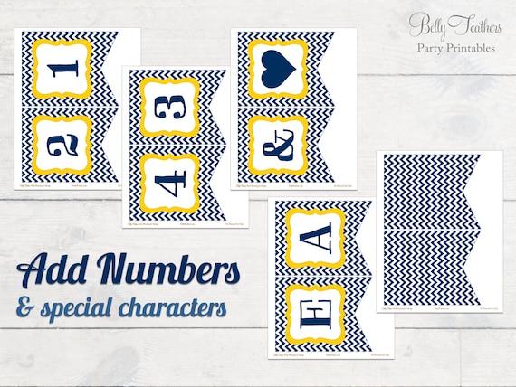 Printable Team Spirit Banner in Navy Blue /& Yellow Gold