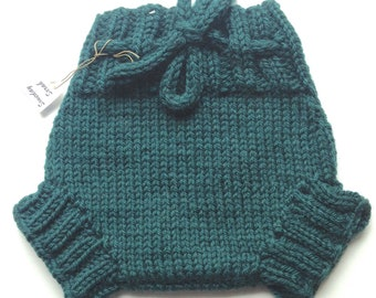 38cb8967be2 0-3 months - Wool Cloth Diaper Cover - Newborn Baby Handknit Dark Green  Wool Soaker or Shorties with Knit Drawstring