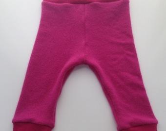 6-18 months -Medium Fuchsia Recycled Lambswool and Angora Wool Longies  - Medium