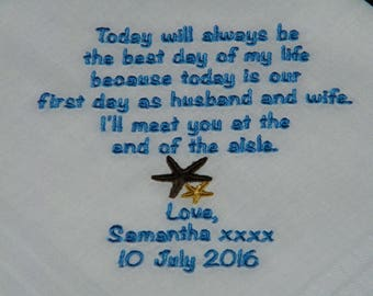 """GROOM Gift from BRIDE Personalized Embroidered """"The Best Day of my Life"""" Wedding Handkerchief"""
