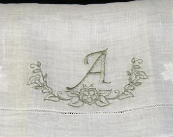 "Vintage Gray on White Monogrammed Monogram ""A"" Ladies Brides Wedding Handkerchief, Hankie, Hanky - 1193"