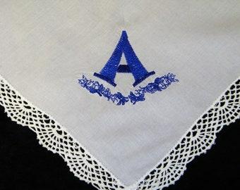 "NEW Embroidered Monogrammed Monogram ""A"" Embroidered Brides Wedding Handkerchief, Hankie, Hanky - 1137"