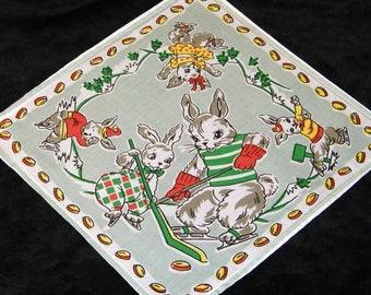 EXC Vintage 70's Child's Childrens Bunnies Playing Ice Hockey Handkerchief, Hankie, Hanky ~ 1223