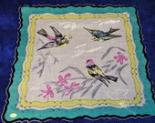 Vintage NEW W TAGS 1950 39 s Colorful Bird Ladies Pocket Square Doily Handkerchief Hankie Hanky 1869