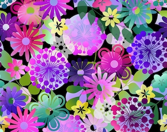 Garden Large - Purple - A Groovy Garden - by Jason Yenter for In The Beginning Fabrics - Sold by the 1/2 Yard Shipped as Continuous Yardage