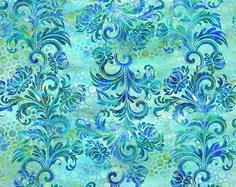 Dotted Flourish: Blue - Floragraphix V - by Jason Yenter for In The Beginning Fabrics   - 1/2 Yard