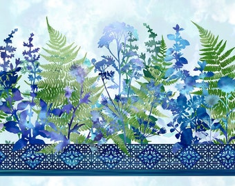 Haven Border - Blue Botanical Print - In The Beginning Fabrics   - Sold by the 1/2 yard - Shipped as Continuous Yardage