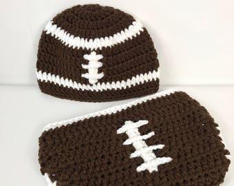 Baby football hat and diaper cover, crochet, photo prop, baby football hat, newborn, brown, Halloween costume, newborn