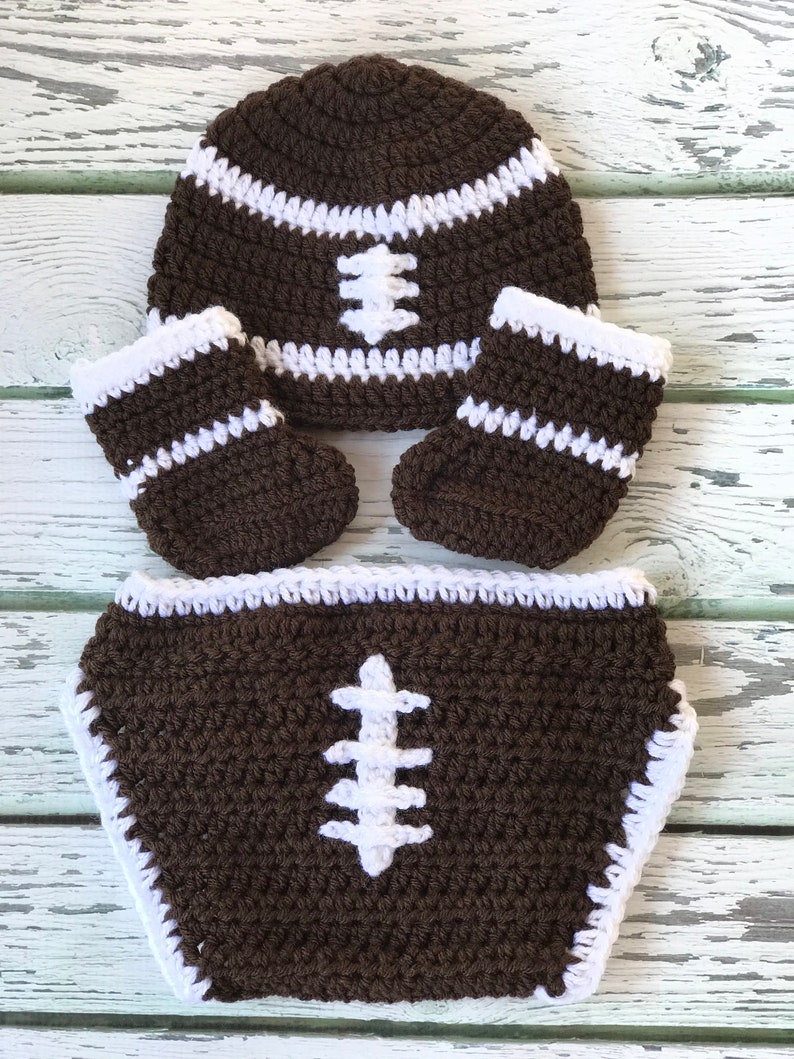 ca69f55b718 Baby football hat boots and disper cover crochet photo