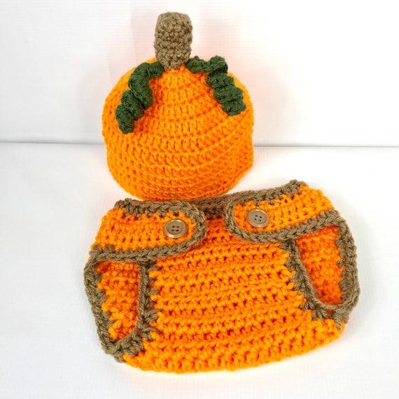 Baby Kürbis Hut und Windel-Abdeckung häkeln Kürbis Foto | Etsy