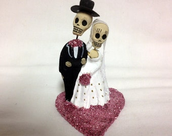 Pastel Pink Till Death Do Us Part Skeleton Bride and Groom Cake Topper - Halloween, Wedding, Engagment Party, Day of the Dead