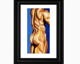 Male Nude, Sexy Naked Man, Sensual Figure Art, Poster Print, 16 x 20, Amante, Bedroom Art, Gay Painting, Erotic Nude Figurative Art, Gay Art