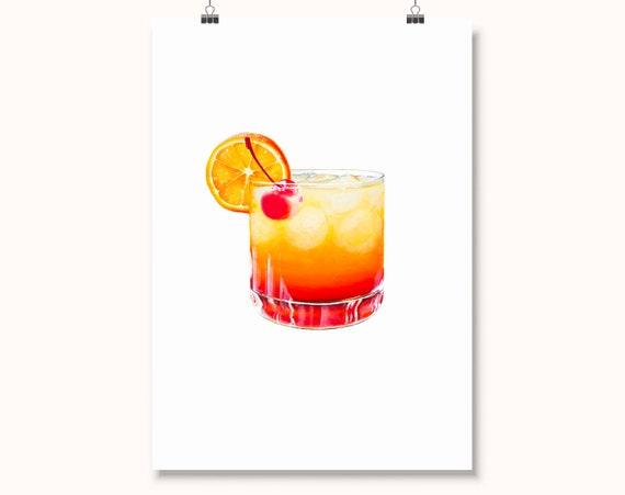 Tequila Sunrise Cocktail Print Mad Men Artwork Kitchen Etsy