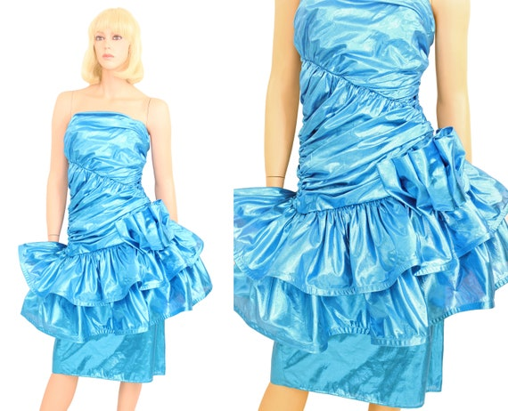 Vintage 80s Blue Lame Evening Prom Party Dress Met
