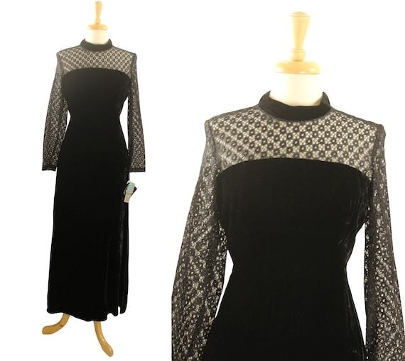 Vintage 60s 70s Velvet Lace Formal Dress NWT