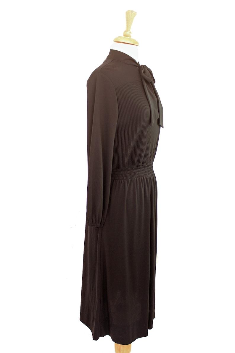 Black Secretary Dress Vintage 70s Tie Neck Keyhole Neckline Long Sleeve Size M