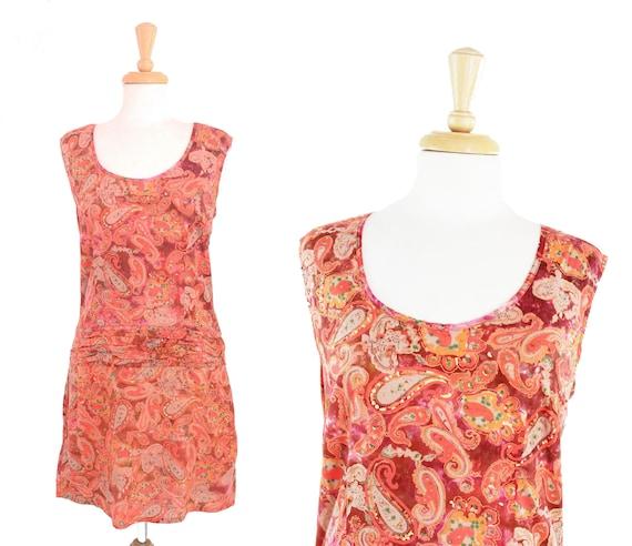 Vintage Paisley Print Orange Dress Mod Psychedelic