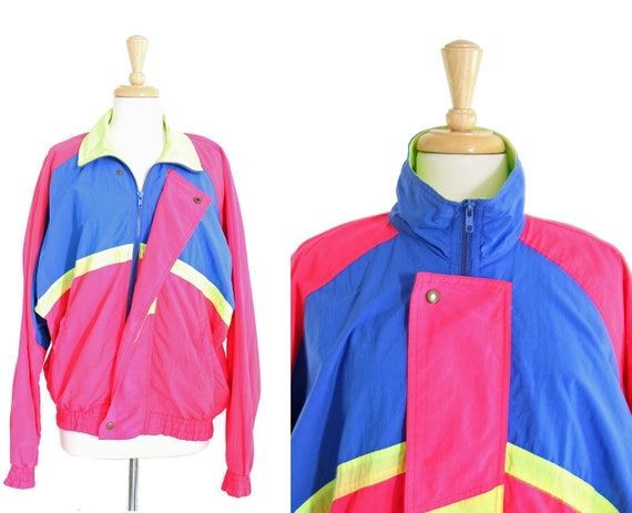 vintage 80s windbreaker jacket stripe neon foreign object pilot Medium Large
