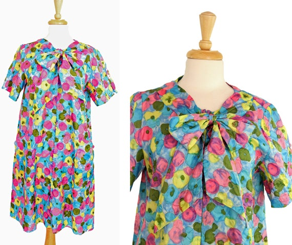 1960s Vintage House Dress Floral XL Bullocks Wilsh
