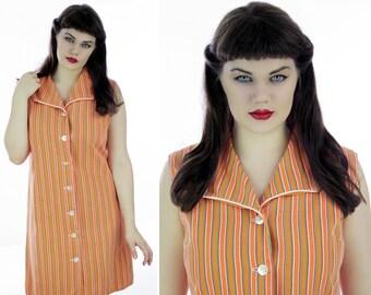 60s Mod Stripe Dress Bright Orange Cotton 1960s Mini A-Line Buttons Down Front  Retro 1970s Indie Day Dress Large L