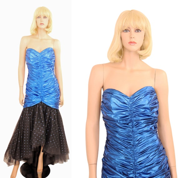 80s Blue Lame Evening Gown Prom Party Dress Metall