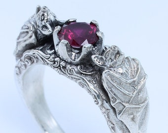 Bat Ring with Ruby Low Bezel Gothic Ring Gothic Jewelry Men's Gothic Ring Bat Jewelry Vampire Bat Goth Ring Gothic Engagement Ring Bats