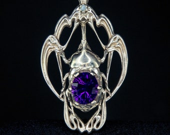 Art Nouveau Style Rhinoceros Beetle Pendant with Amethyst Insect Jewelry Nature Jewelry Armor Jewelry Magical Jewelry Thematic Jewelry
